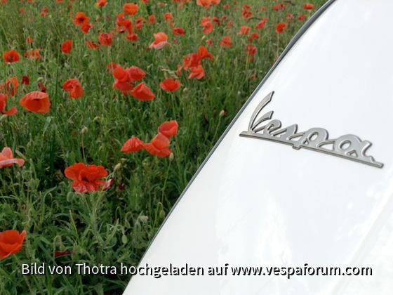 Vespa S 50 im Mohnfeld
